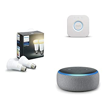 Echo Dot gris oscuro + Philips Hue White Ambiance - Pack de 2 bombillas LED E27, ...