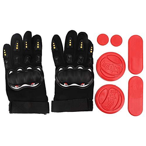Alomejor Longboard Slide Gloves Downhill Longboarding Gloves Triple Slider Plate Sports Hand Protective Gear(Red)