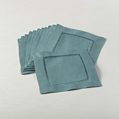 (SARO LIFESTYLE 6100C 24/7 Everyday Collection Sea Green Hemstitched Cocktail Napkin, 6