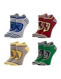 Harry Potter Socks Hogwarts House crests Official 4 Pack Ankle UK Shoe Size 7-9