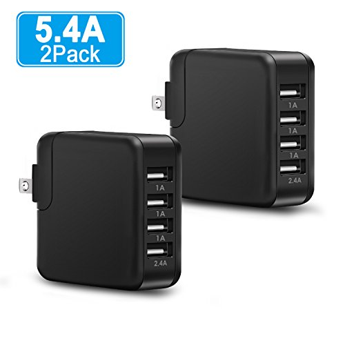 Wall Charger,4-Port USB Power Adapter, 2 Pack Abosi Quick Charging Multi Port USB Charger,27W 5.4A Universal Quick Charger Plug Cube with Foldable Plug Compatible with iPhone and Samsung Phones