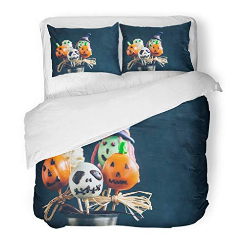Emvency Bedding Duvet Cover Set Twin (1 Duvet Cover + 1 Pillowcase) Funny Delicious Cake Pops for Halloween On The Table Selective Focus and Blank Space Hotel Quality Wrinkle and Stain Resistant for $<!--$89.90-->