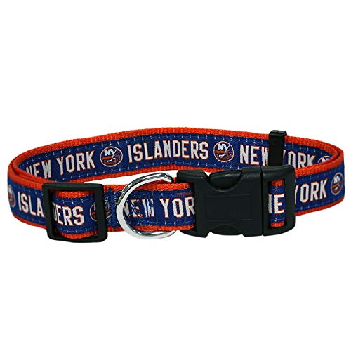 Pets First NHL New York Islanders Collar for Dogs & Cats, Large. - Adjustable, Cute & Stylish! The Ultimate Hockey Fan Collar! (New York Islanders Fan)