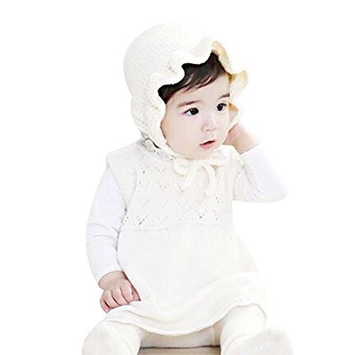(IMLECK Unisex Baby Warm Wind Spring and Autumn Frill Knitting Wool Hat, Size: One size for 6 month - 24 months)