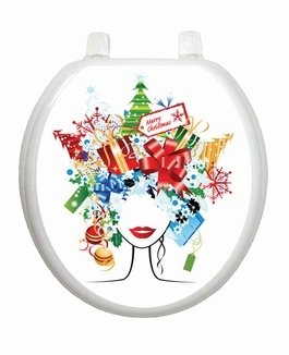 Christmas Lady Toilet Tattoo TT-X612-R Round Winter Snow Holiday