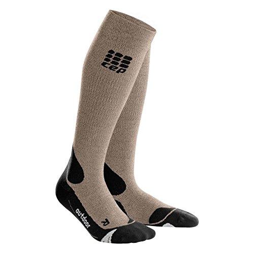 CEP Men's Compression Outdoor Merino Socks Sand Dune/Black 3 (Arch Dune Sand)