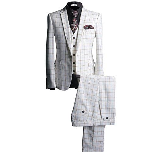 YFFUSHI Mens Retro Plaid One Button 3 Pcs Suit Blazer Jacket Tux Vest & (Retro Suits For Mens)