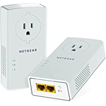 NETGEAR Powerline adapter 2000 Mbps (2) Gigabit Ethernet Ports with Passthrough + Extra Outlet (PLP2000)