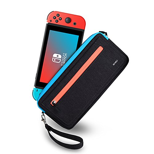 Slim Nintendo Switch Case,WiWU Switch Case Protective Sleeve Pouch Bag with 5 Game Slots in Side Pocket WaterProof Scratch-Resistant Portable Travel Carry Case for Nintendo Switch & Accessories,Black (Carry Case Protective Pouch)