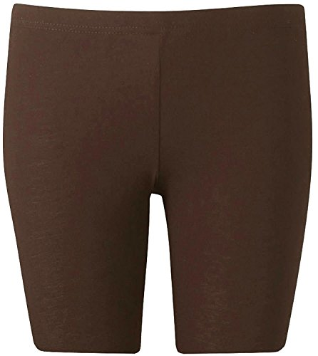 New Womens Plus Size Over Knee Plain Jersey Cycling Shorts ( Brown, 1X )