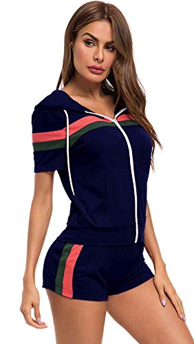 TOP-MAX Women's 2 PCS Tracksuit Sets Sweatsuits Outfits Hoodie Sweatshirt and Jogging Sweatpants Suit Plus Size