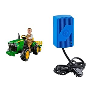 Peg Perego John Deere Ground Force Tractor with Trailer and 12 Volt Quick Charger Bundle