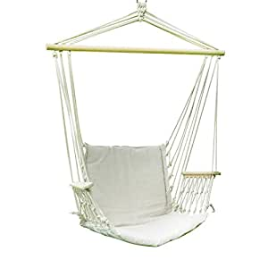 Adeco 2 Person Hammock Chair Tree Hanging Suspended Outdoor Indoor Bed Natural Color