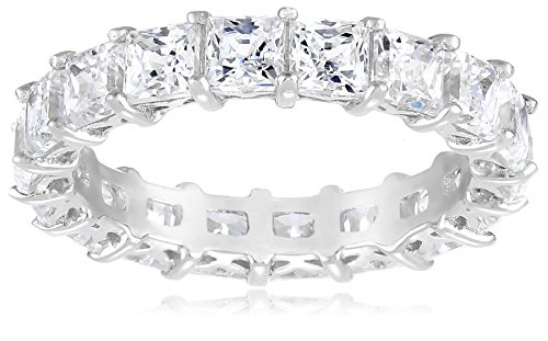 Diamond Eternity Ring Simulant - Platinum-Plated Sterling Silver Princess Cut All-Around Band Ring made with Swarovski Zirconia (7.5 cttw), Size 7