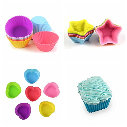 24-Pcs Reusable Silicone Cake Molds Baking Molds Muffin Cups, Nonstick & Heat Resisitant Baking Cups Cupcake Baking Liners, Christmas Gift