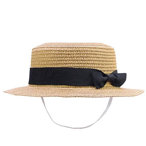 IFSUN Straw Sun Hat Kids Boy Girls Boater Summer Beach Cap Bucket Hat