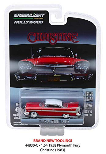- New DIECAST Toys CAR Greenlight 1:64 Hollywood Series 23 - Christine - 1958 Plymouth Fury (RED/White ROOF) 44830-C