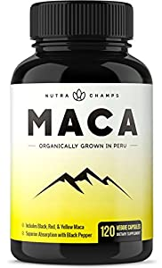 Organic Maca Root Powder Capsules - 1000mg Peru Grown - Energy, Fertility & Sex Health Supplement for Men & Women - 120 Vegan Pills - Gelatinized + Black Pepper Extract for Superior Results