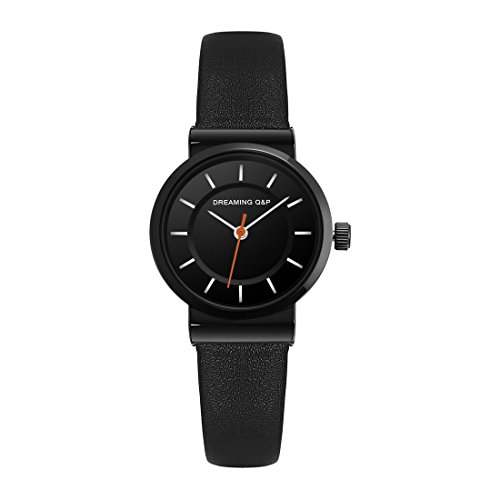 Women's Black Leather Dress Watch,Simple Style Casual Small Wrist Watches for Woman WD260 by DREAMING Q&P (Image #1)