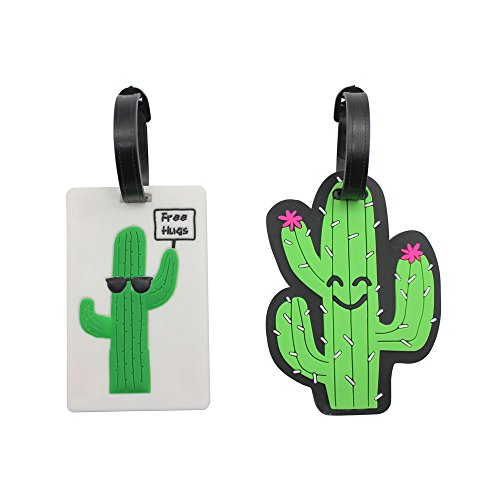 Mziart Unique Cactus Travel Luggage Tags TAS Approved Baggage Tags Suitcase Bag Labels Backpack Identifier, Set of 2