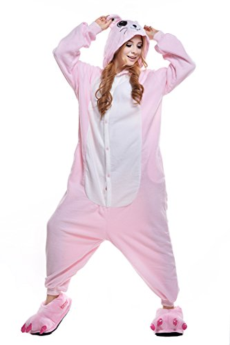 NEWCOSPLAY Mouse Costume Sleepsuit Adult Onesies Pajamas (XL, Pink Mouse)]()
