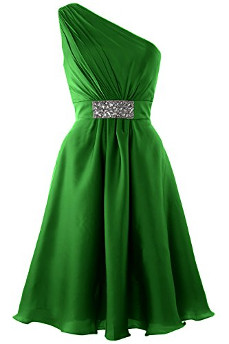 MACloth Women One Shoulder Cocktail Dress Knee Length Wedding Party Formal Gown (26w, Green) (Plus Size 90s Fancy Dress)