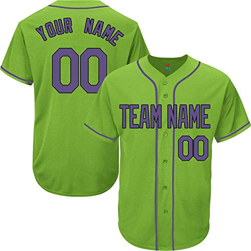 (Light Green Custom Baseball Jersey for Men Women Youth Replica Embroidered Team Name & Numbers S-5XL Purple Black)