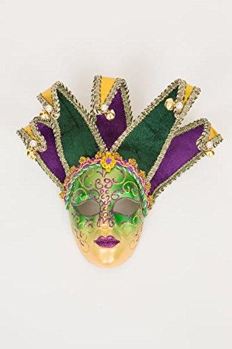 Venetian Gold Jester Full Face Masquerade Carnival Mask Mardi Gras Purple Green Gold Female Mask Full Face Jester Mask Halloween -