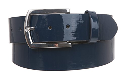 On Nickel Free Faux Synthetic Patent Leather Fashion Plain Belt, Navy | M/L - 33