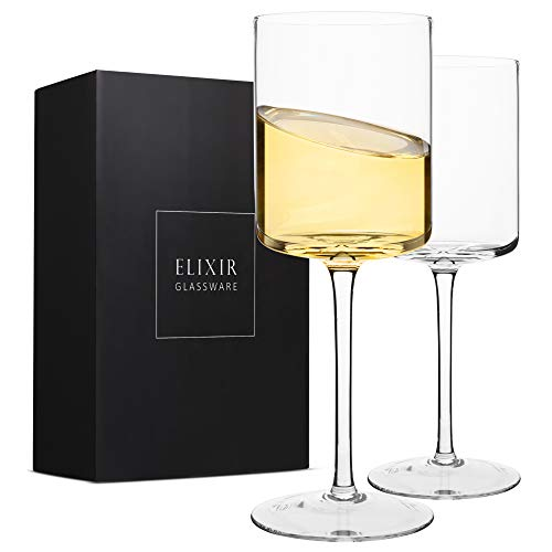 Edge Wine Glasses, Modern & Elegant Square Glass Set of 2, Large Red Wine or White Wine Glass - Unique Gift for Women, Men, Wedding, Anniversary - 14oz, 100% Lead Free Crystal