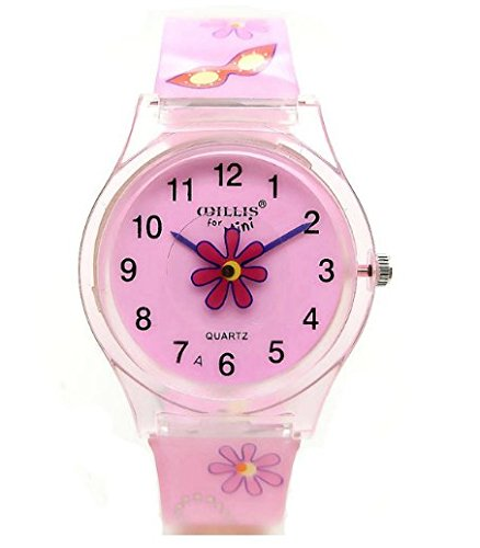 Transparent Pink Flower Sport Quartz Wrist Watch For Gifts Women Students Kids Girls