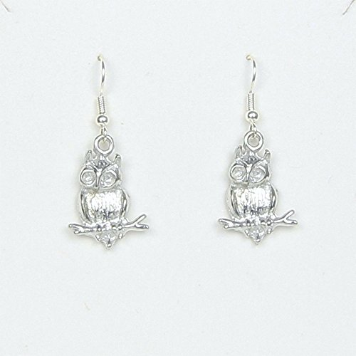 Owl on Branch Earrings - Wisdom Within Story Card Packaging includes gift bag - Handcrafted Pewter - Made in USA