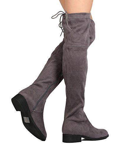 BETANI FG36 Women Faux Suede Over The Knee Drawstring Riding Boot - Grey Ij8alGFmb