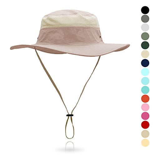 Jane Shine Outdoor Sun Hat Quick-Dry Breathable Mesh Hat Camping Cap Khaki Pink -