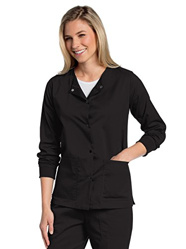 Landau All Day Women's Modern Fit Snap-Front Warm-Up Scrub Jacket Black M