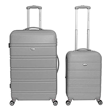 Image of American Green Travel TSA Lock 2-Piece Hardside Spinner Luggage Set, Silver Luggage