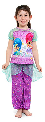 Nickelodeon Big Girls' Shimmer and Shine Fantasy 2-Piece Pajama Set, Amethyst, 8 -
