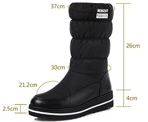 GFONE Women's Winter Snow Boots Waterproof Warm Down Fur Lined Wedge Platform Mid-calf Boots Slip On Size 2.5-9.5 Black2 cBwNo