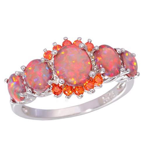 MARRLY.H Fire Opal Orange Garnet Silver Plated Wedding Party Gift for Women Jewelry Ring Orange 10