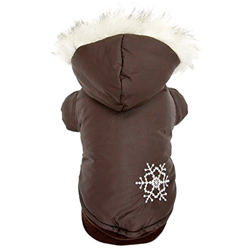 (LOVEPET PETLOVE Reversible Small Dog Winter Coat Snowflake Jacket Removable Hood Puppy Pet Clothes Windproof Brown XL)