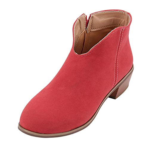 Londony ♥‿♥ Fashion Boots for Women Low Heel Chunky Stacked Ankle Booties Side Zipper Western Boots Shoes