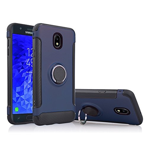 For Samsung Galaxy J7 2018 Refine, J7 Star, Crown, Aura, Aero, Eon, J7 Top SM-J737 360 Degree Rotating Ring Stand Grip Enhanced Slim Armor Defender Case [MAGNET CAR AIR VENT MOUNT READY] (Blue) -