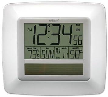 La Crosse Technology WT-8112U-WH Solar At-mica reloj de pared digital con cubierta Temp-Humedad-Blanco: Amazon.es: Hogar