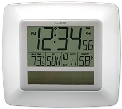 La Crosse Technology WT-8112U-WH Solar At-mica reloj de pared digital con cubierta Temp-Humedad-Blanco: Amazon.es: Hogar