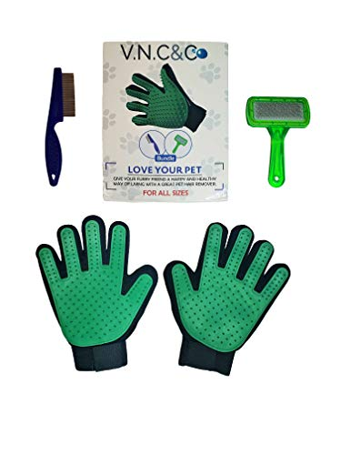 v.n.c&co :Premium PET Grooming Gloves Includes Flea Comb & Slicker Brush Gentle De-Shedding Brush Gloves. Comfortable Efficient Pet Hair Removal Mitt Perfect Dogs, Cats, Bunnies & Horses[1Pair]