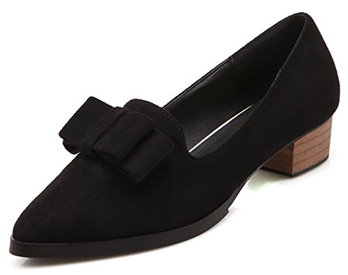 Aisun Donna Carino Faux Suede Dressy Punta A Punta Grosso Tacco Basso Slip On Wear To Work Pumps Shoes With Bows Black