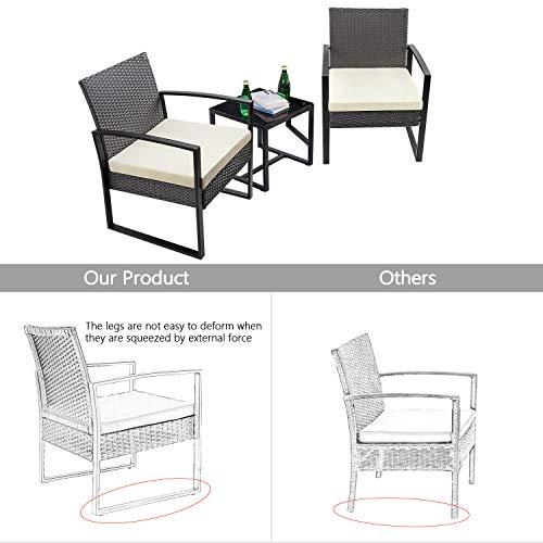 Amazon.com: Flamaker - Juego de muebles de jardín de mimbre ...