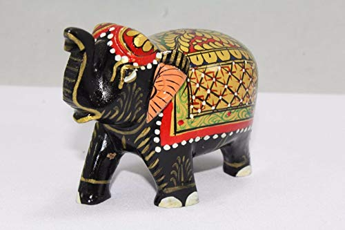 Elephant Wooden Artistic (PH Artistic Indian Handicraft Wooden Elephant Figure Gold paint Decorative Gift item)