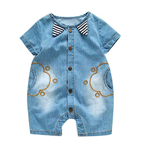- baskuwish Baby One-Piece Dress,Toddlers Infant Baby Girls Boys Kids Demin Striped Romper Jumpsuit Short Sleeve Outfits Blue