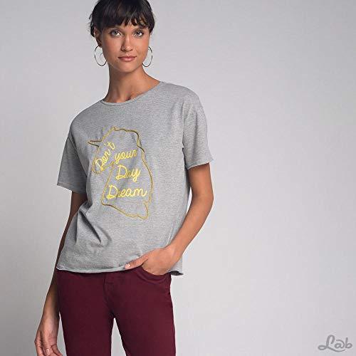 Camiseta Luigi Bertolli Feminino Aplicação Unicórnio Cinza